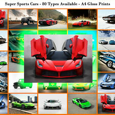 Super Sports Car Prints 80 types cars Photo Poster Picture Print Wall art A4