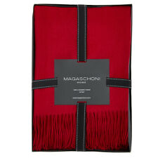 """MAGASCHONI 100% Cashmere Tassled Throw Scarlett Tint Red New in Box 50"""" x 60"""""""