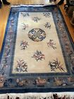 Vintage Art Deco Hand Woven Chinese Wool Pile Rug 6' x 9' Light Blue circa 1960.