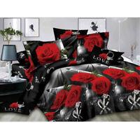 4Pcs 200*230cm 3D Rose Printed Home Bed Duvet Quilt Cover Pillowcase Bedding Set