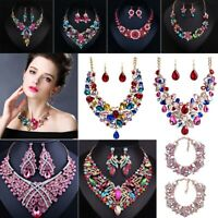 Women Crystal Bib Necklace Pendant Choker Chunky Statement Wedding Jewelry Set