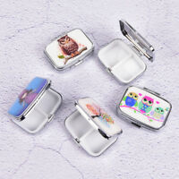 Square Metal Folding pill case Medicine Storage Organizer Pill Box ContainerJO