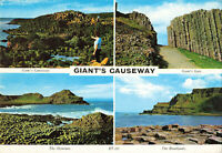 Rare Vintage Postcard - Giant's Causeway Multiview - Antrim Northern Ireland