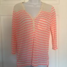 H&M Neon Pink Top Striped Sheer Casual High Low Hem Pocket Size XS  #T10