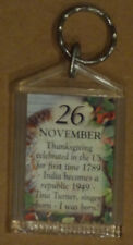 November 26 Birthday Two-sided Keychain, Thanksgiving, India, Tina Turner born