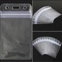 Vertical Transparent Vinyl Plastic Clear ID Card Badge Holder with Zipper 10Pcs