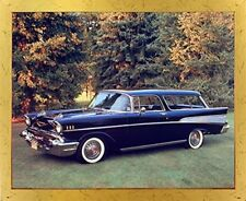 1957 Chevy Nomad Bel Air Vintage Classic Car Golden Framed Wall Decor Picture