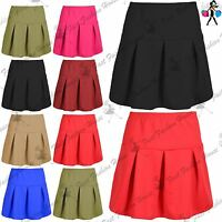 Womens Ladies Plain High Waisted Pleated Flared Skater Swing Short Mini Skirts