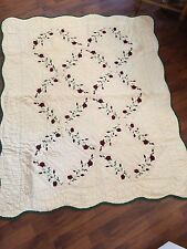 "Hometex Throw Blanket Hand stitched 50""x60"" Off White Hunter Green Floral"