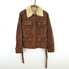 Wilsons Leather Brown Suede Womens Jacket Size Medium Faux Shearling Belted