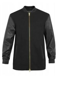 Topman Leather Sleeve, Bomber Jacket Size M Nick Grimshaw Collection long