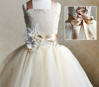 Flower Girls Wedding Formal Lace Junior Bridesmaid Party Pageant Princess Dress