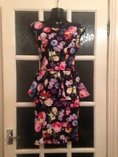 Bnwot Top Shop Body Con Peplum Dress Size 6 Funky Floral New