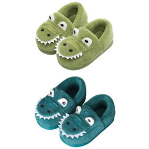 Kids Warm Dinosaur Slippers Toddler Fuzzy Home Indoor Bedroom Shoes SA76