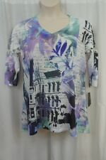 Style & Co Womans Top Sz 0X White Multi 3/4 Sleeve Feminine Palett Casual Blouse