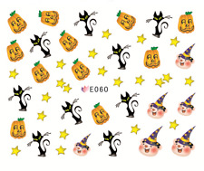 Nail Art Stickers Water Transfers Halloween Pumpkins Pig Wizards (E060)