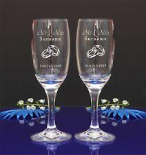 Personalised Engraved Mr&Mrs/Mrs&Mrs/Mr&Mr Wedding Champagne Flutes SET of 2//14
