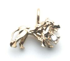 Lion Pendant Cubic Zirconia Stone Yellow Gold Plated Charm For Necklace Chain