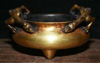 Brûleur d'encens de 6,4 po à poinçon de dragon dynastie 24K pourpre, bronze doré