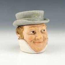 Antique Austrian Pottery - Hatted Gentleman Formed Tobacco Jar - Lovely!