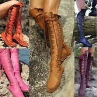 Ladies Knee High Wedge Heel Platform Womens Punk Goth Lace Up Biker Boots Size
