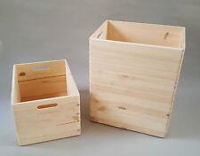 3x Plain Wood Large Boxes Wooden Box Storage Craft Handles Chest Garage Decopage