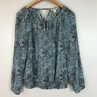 Lucky Brand Light Blue Boho Geo Print Long Sleeve Elastic Peasant Top Size M