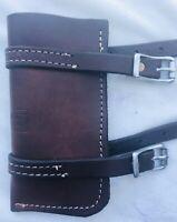 Western Dark Brown Leather Flag Holder for a Western Saddle