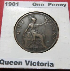 >>1901  Vintage U.K. ONE PENNY CROWN SIZE BRONZE COIN, QUEEN VICTORIA on Reverse