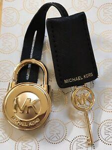 MICHAEL KORS LARGE GOLD LOCK AND KEY SET BLACK SAFFIANO LEATHER HANDBAG CHARM