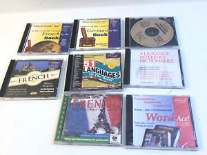Lot Of 8 LEARN Spanish FRENCH German English 51 Languages TRANSPARENT CD-ROM PC