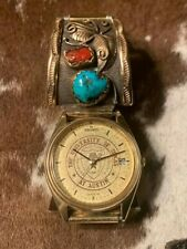 Vintage Navajo Sterling Turquoise Coral Watch Band.  Face:  University of Texas.