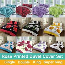 Rose Printed Duvet Cover Quilt Set With Pillow cases All Sizes