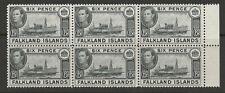 FALKLAND ISLANDS 1941 GEORGE VI 6d BLACK MNH BLOCK x6 VF