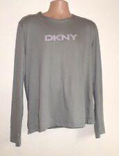 NUEVO DKNY Manga Larga Gris Grande L Camiseta Hombre Original