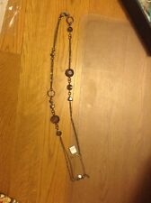 Lia Sophia TINSEL Necklace Hematite Finish W/ Cut Crystals & Resin Beads NEW