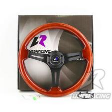 "LINESRACING 14"" Wood Grain Steering Wheel with 6 Bolts 1.75"" Dish Mahogany color"
