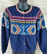 Hanna Anderson filles 140 multicolore bleu cardigan tricot pull taille 9 10 11