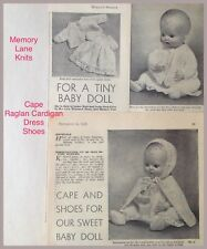 Cape Set Baby Doll Clothes Vintage Knitting PATTERN Dress Jacket Shoes.  78