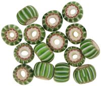 RARE OLD round 4 Layers striped green CHEVRON VENETIAN GLASS TRADE BEADS AFRICA