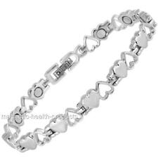 LADIES MAGNETIC HEALING BRACELET SILVER HEARTS BANGLE -ARTHRITIS PAIN RELIEF 9