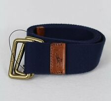 Polo Ralph Lauren Small Double D Blue Fabric Leather Belt NWT