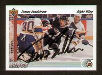 Tomas Sandstrom signed autograph auto 1991-92 Upper Deck Hockey Card