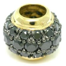 1.13ct Black Diamond Pave 9ct Solid Gold Bead Charm FITS EURO BRACELETS