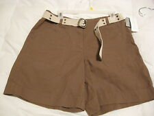 CHARTER CLUB LADIES SHORTS WITH BELT * SATURDAY STYLE * SIZE 8 * NWT * BROWN *