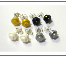 ☆NEW☆ 4 Pair Girl LEGO Round Solid Color Earrings!