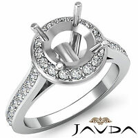 Diamond Engagement Ring 0.7ct 14k White Gold Halo Pave Set Round VS Semi Mount
