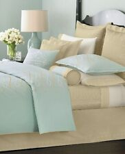 Martha Stewart RIBBON TRACE 7pc Queen Duvet Shams Bedskirt Quilt blue tan $1220