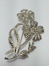 Vintage Sterling Silver and Marcasite Flower Brooch 15g stunning!