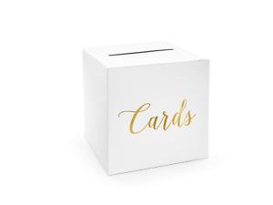 Kartenbox 24cm Hochzeit Papier Geschenkbox gold Geldbox Briefbox Briefschlitz